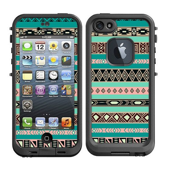 Skins FOR Lifeproof iPhone 5 Case - Turquoise Blue Pink Aztec Black Tan Pattern Indian Tribal - Free Shipping - Lifeproof Case NOT included on Etsy, $9.95