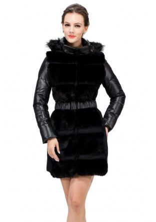Jelena classic/black faux fox fur with 100% goose /with hat middle down coat