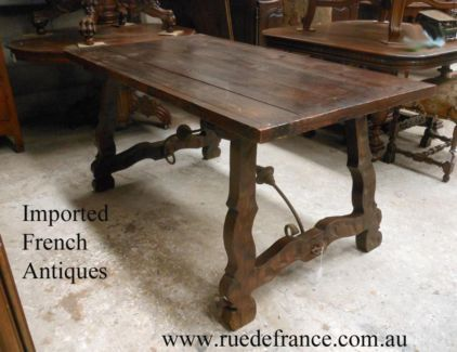 ANTIQUE VINTAGE FRENCH - SPANISH IRON & TIMBER DINING TABLE
