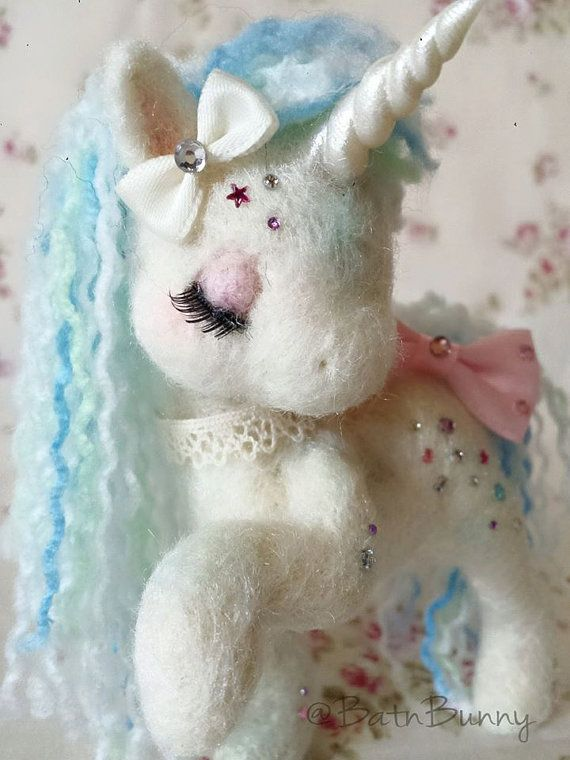 Handmade  Needle felt Fairy Unicorn  SugarShimmers by BatnBunny