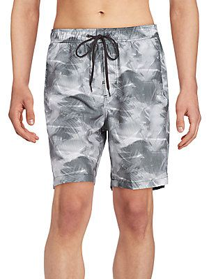 Calvin Klein Leaf Print Swim Shorts - Black  - Size S