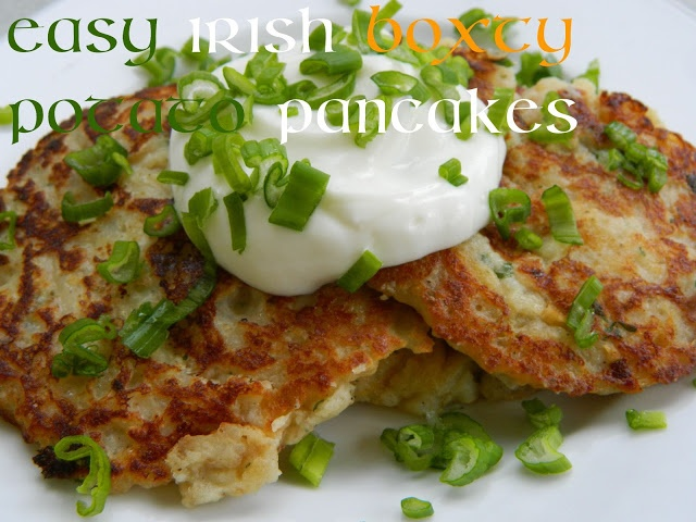 Yummy! It's Time for Boxty~ Easy Irish Potato Pancakes.    Ingredients:   2 pounds of frozen onion flavored tater tots 2-4 oz pkgs instant roasted garlic potatoes 2 large shallots, finely chopped 1 egg, beaten 1 tsp salt ½ tsp fresh ground pepper 1 cup buttermilk 1/4 cup green onions, thinly sliced 1 cup all purpose flour 1 tsp baking powder olive oil