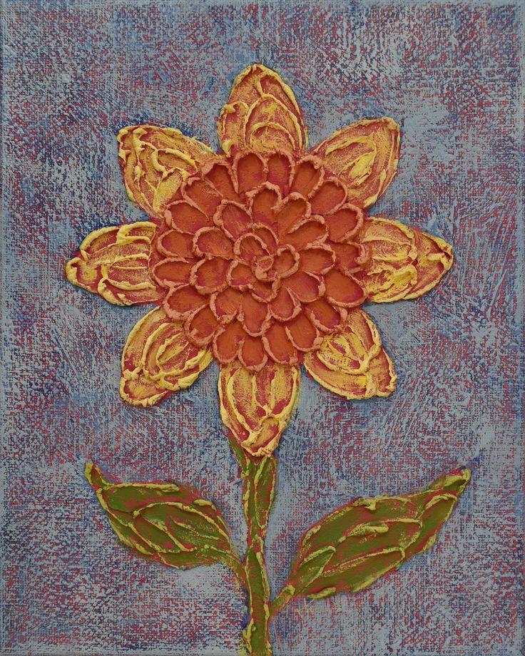 Sunflower Painting ... Impasto Flower ... Thick Paint ... 8x10 Art ... Palette Knife ... Yellow Orange Blue ... Acrylic on Canvas ... Small by KellysArtStudio on Etsy @etsy #impasto #sunflower #painting #texture #art #fineart
