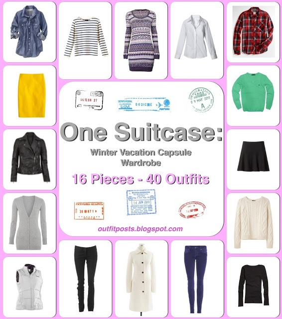 This girl is awesome!  16 pieces, 40 outfits!  Outfit Posts: one suitcase: winter vacation capsule wardrobe