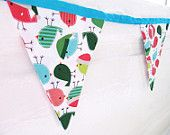 Rockin Robins Christmas Bunting - White Blue Pink Green Festive Xmas Bunting - Bird Print Xmas Bunting