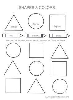shapes colors printable worksheet - Free Printable Toddler Worksheets
