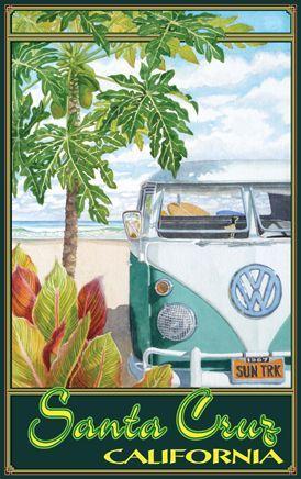 Santa Cruz vintage poster/ postcard