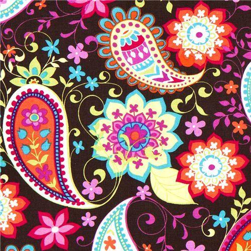 brown Michael Miller fabric Paisley Spree big flowers