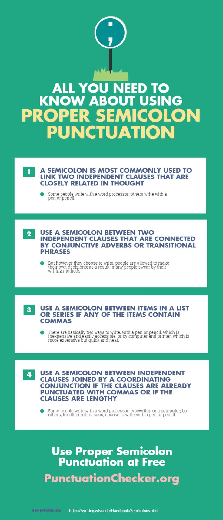 All You Need to Know About Using Proper Semicolon Punctuation Infographic