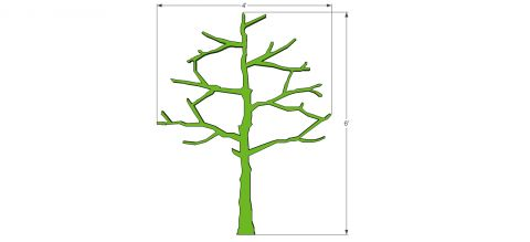 As Built Dimensions for Free DIY Plans and Step by Step Video Tutorial on How To Make a Modern Tree Shaped Bookshelf