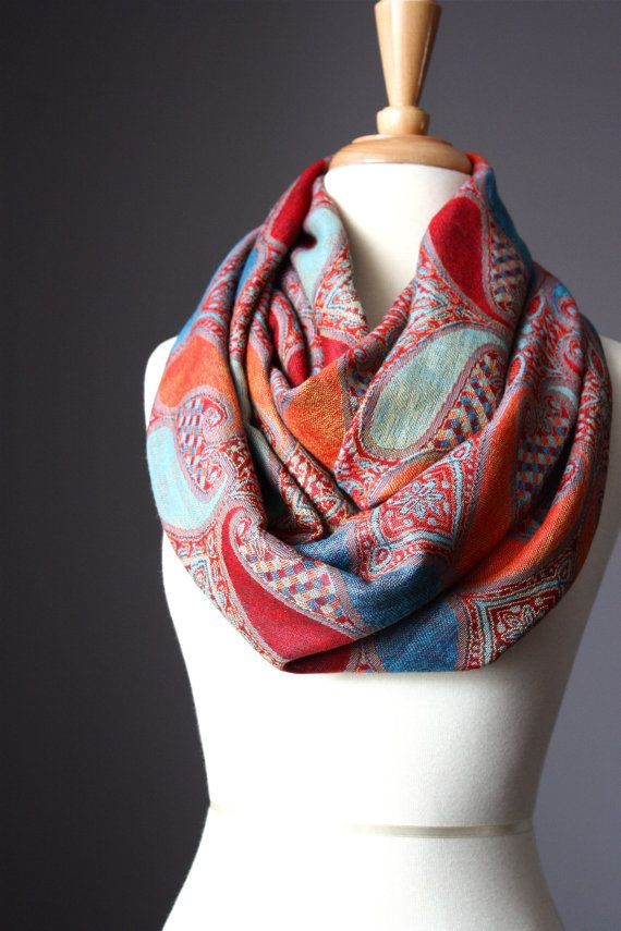 Large paisley  Infinity Scarf  Pashmina / silk by ScarfObsession, $29.00
