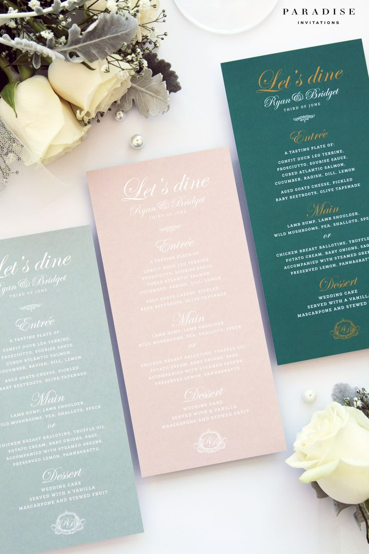 Eliana Velvet Emerald and Natural Colors Menus, Suitable for all Events, Beach Wedding Menus Templates or Printed Menus, Peach and Sage Menu