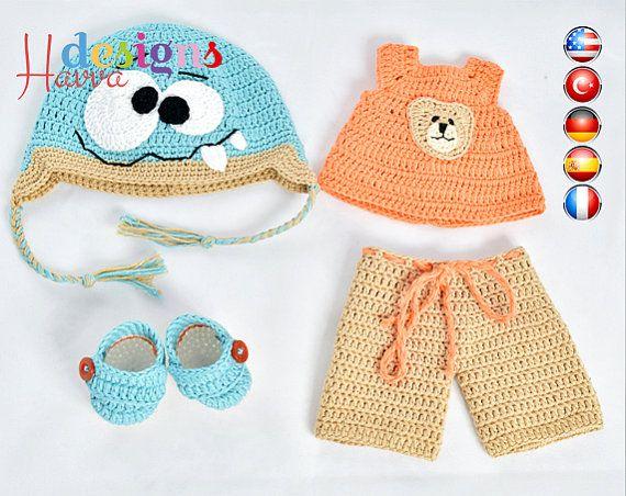 Muster - (nur Bekleidung) Monster Hut und Kleidung (häkeln, Amigurumi)