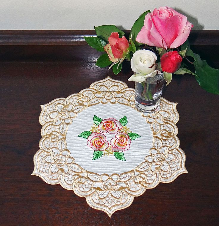 Cutwork Flower 2 with a Rose centre Doily - Embroidery by Sue Box