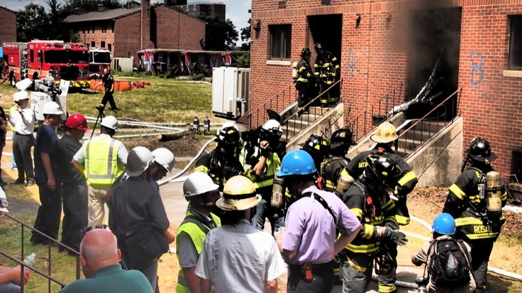 FDNY, UL and NIST representatives gathering for a burn during our partner research on Governor's Island. www.ul.com