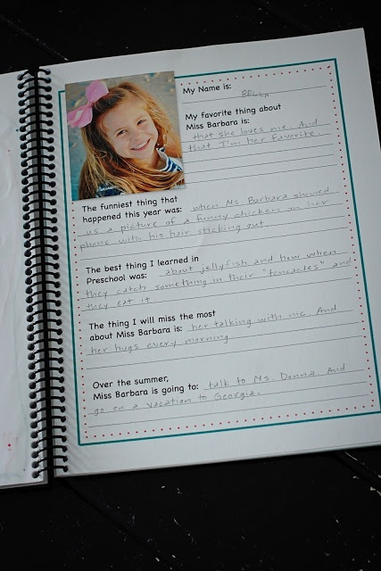 Make a book from letters and questionnaire from each teacher.