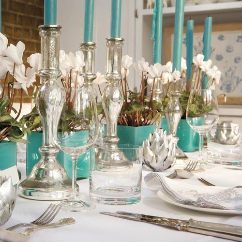 aqua and silver decor