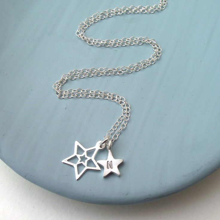 Silver Star And Initial Necklace by ZeldaWong on Etsy