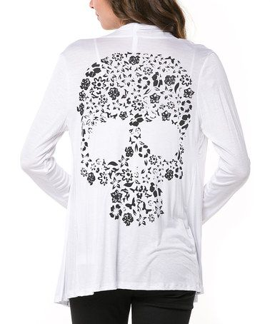 Look what I found on #zulily! White Flower Skull Open Cardigan by Magic Fit #zulilyfinds