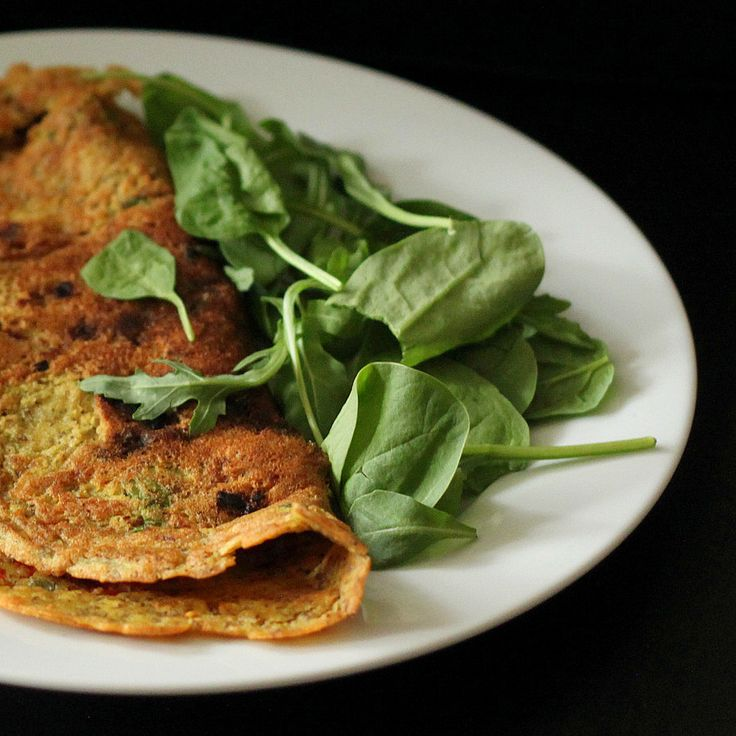 Chickpea flour Omelette with spinach, onion, tomato, bell peppers. Vegan Glutenfree Soyfree nutfree recipe - Vegan Richa