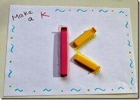 Make A E F H I K L M N T V W Y Z with IKEA bag clips [alphabet recognition]