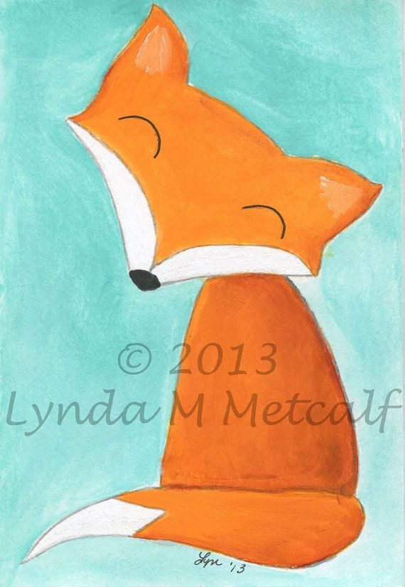 Fox Painting, Original 4x6 Acrylic Painting on Etsy, $12.00