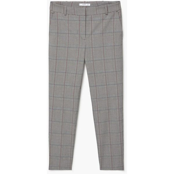 MANGO Check Suit Trousers (110 SAR) ❤ liked on Polyvore featuring pants, suit trousers, checked pants, straight dress pants, mango pants and mango trousers