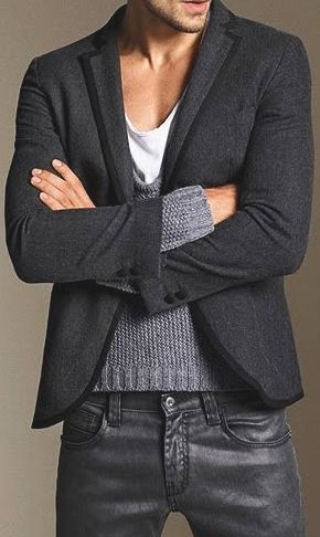 Leather jeans, sweater & sport coat. Casual, chic & hot!