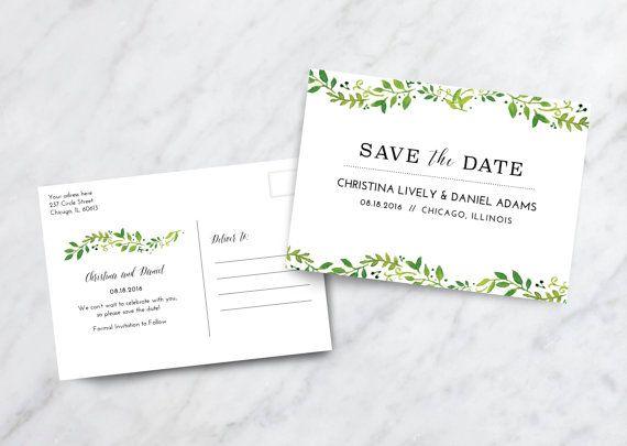 Save The Date Card Postcard Fl Botanical Wedding Invitation Digital