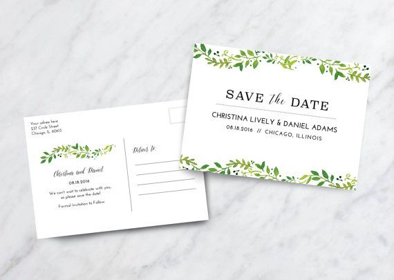 Save the Date Card Postcard / Floral Save by juliahartliebdesign
