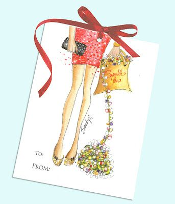 "Free printable holiday gift tags by illustrator SANDY M of Ooh La Frou Frou .. link to print the tags on ""It's Christmas Time In The City"" post."
