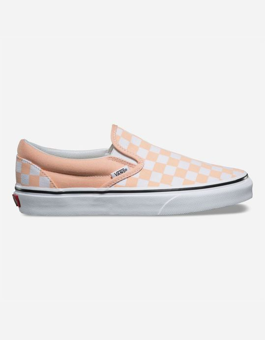 83774c8fec23e1 VANS Checkerboard Classic Slip-On Bleached Apricot   True White Womens Shoes