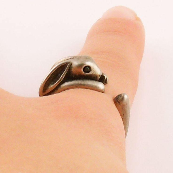 Animal Wrap Ring - Bunny - White Bronze - Adjustable Ring - keja jewelry