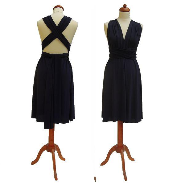 Krátké tmavě modré šaty. Variabilní šaty Convertibles jsou ideální na svatbu, maturitní ples, společenské akce i denní nošení. Uvažte si je jakkoliv budete chtít a pokaždé v nich můžete vypadat jinak.