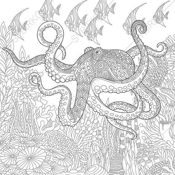Adult Coloring Page Octopus and Fish. Zentangle Doodle