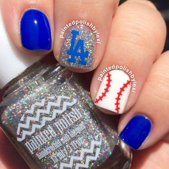 Cute baseball mani.  Just need an old english D instead of LA.