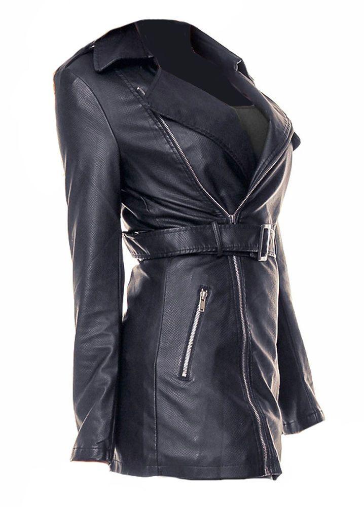 Damen Jacke Kunstlederjacke Bikerjacke Mantel  blau Neu Gr.40