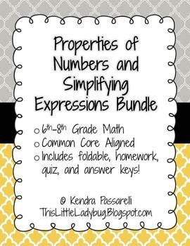 Simplifying Expressions and Properties of Numbers Bundle {EDITABLE} Includes ZIP folder with 13 files!