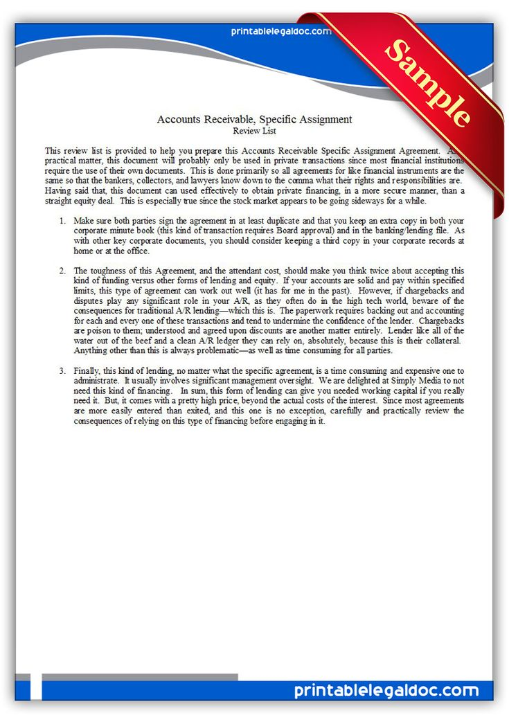 Free Printable Accounts Receivable, Specific Assignment Legal - assignment agreement