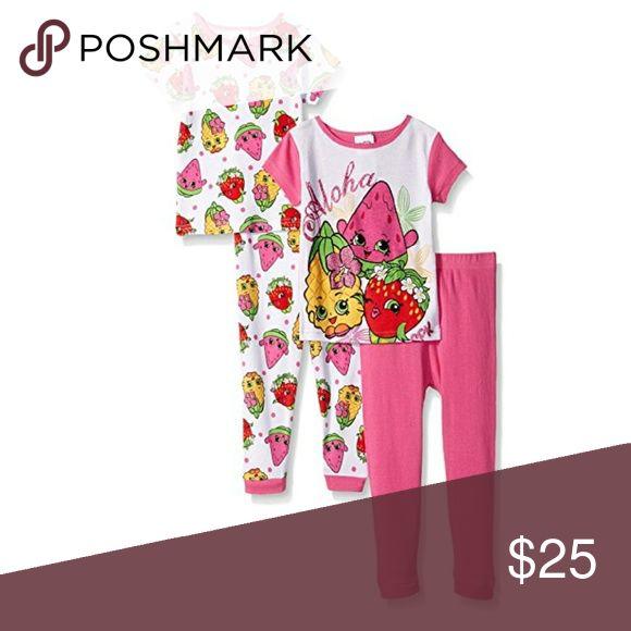 Shopkins Girls Aloha 4 Piece Pajama Set Set includes 2 shirts and 2 sets of pants. shopkins Pajamas Pajama Sets