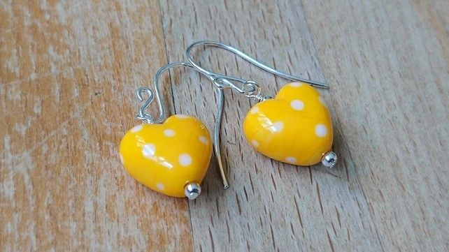 Yellow polka dot heart earrings, sterling silver earrings £15.00