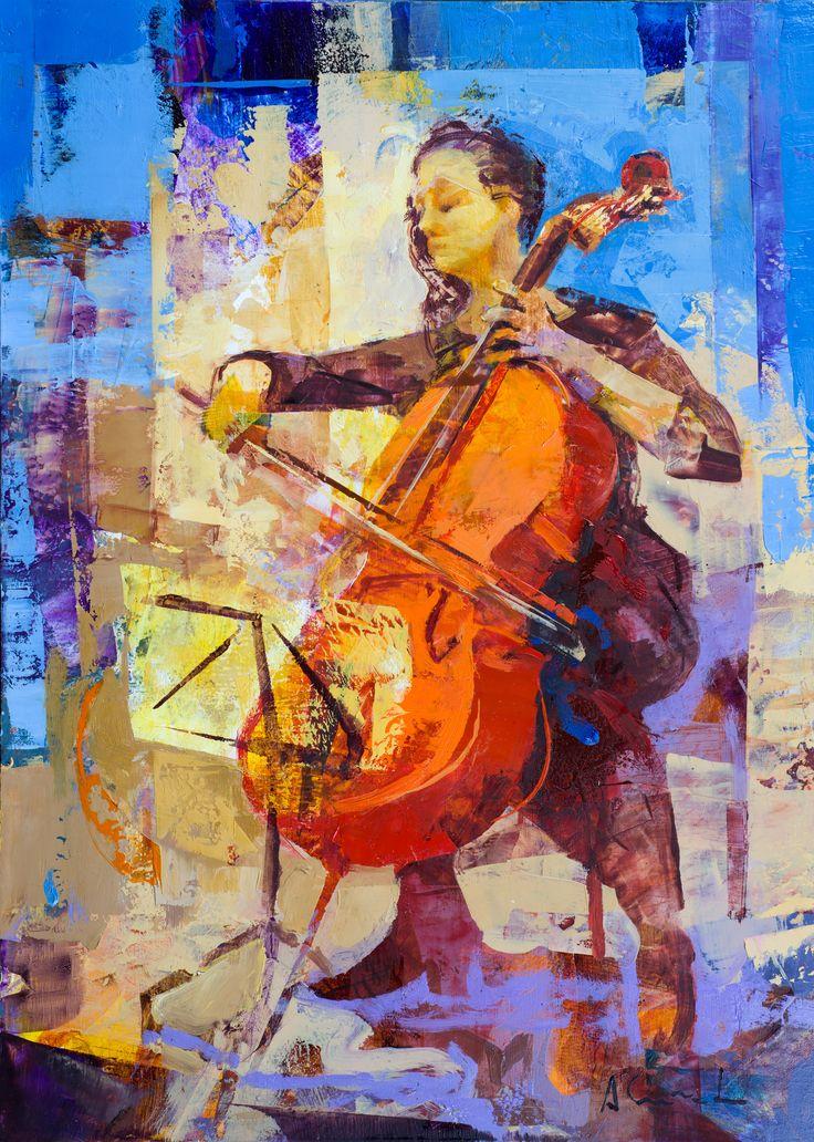 Violonchelista. Óleo y acrílico sobre tabla. 33x24 cm. Alfonso Cuñado