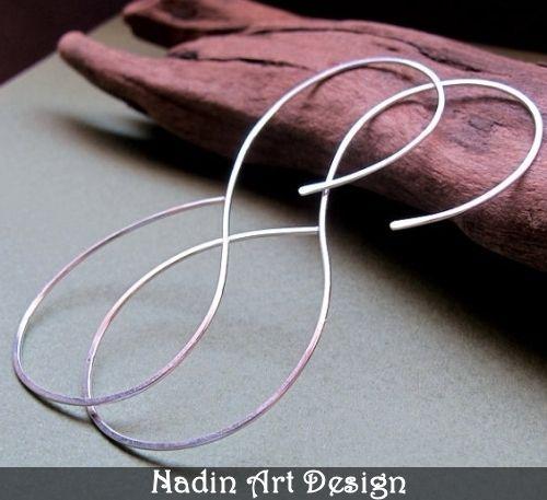 Sterling Silber Unendlichkeit Creolen Ohrringe von NadinArtDesign auf DaWanda.com