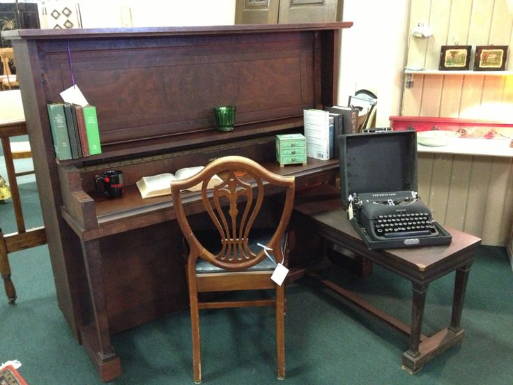 1909 Hobart M. Cable Upright Grand Piano, repurposed as a desk!