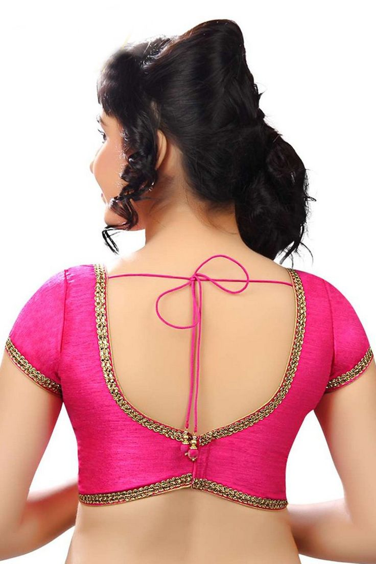 Blouse designs saree blouse back designs blouses neck designs 30 jpg - Striking Pink Raw Silk Plush Blouse With Blunt V Neck Bl606 Saree Blouse Neck Designsblouse
