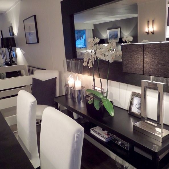 Mirror, table, white dinning room chairs...