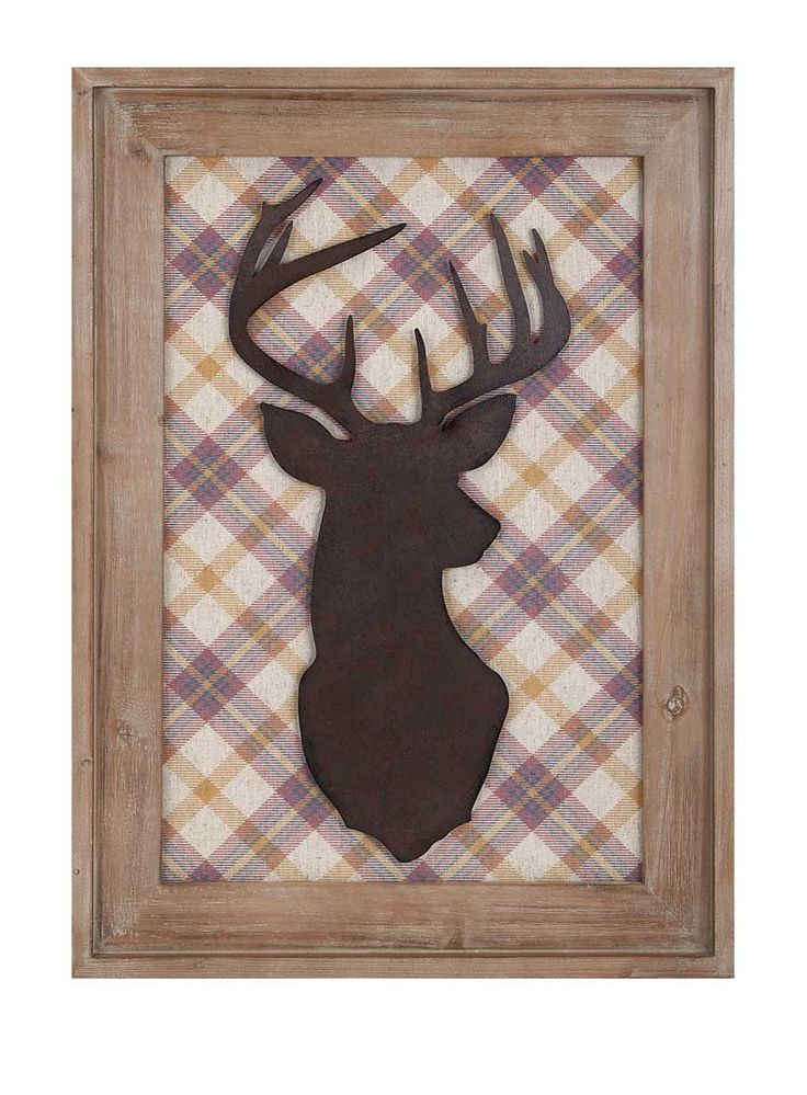 "Oh deer, we're simply mad for this wooden silhouette backed with plaid and framed. Product Description • Product Dimensions: 27.5"" H x 19.75"" W x 1.25"" D • Product Re-Shipper Dimensions: 28.74"" L x 2."