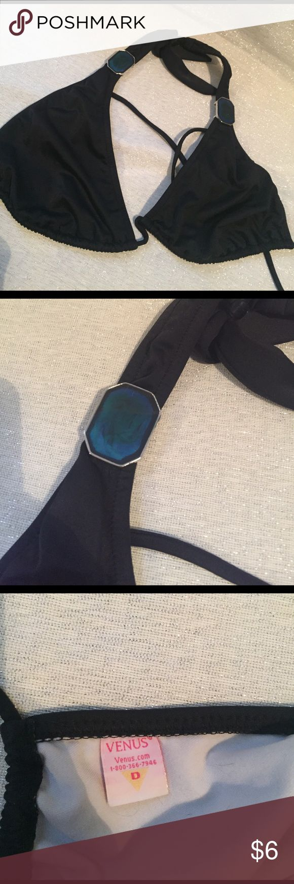 Black bikini top Black triangle bikini top.   Size D Swim Bikinis