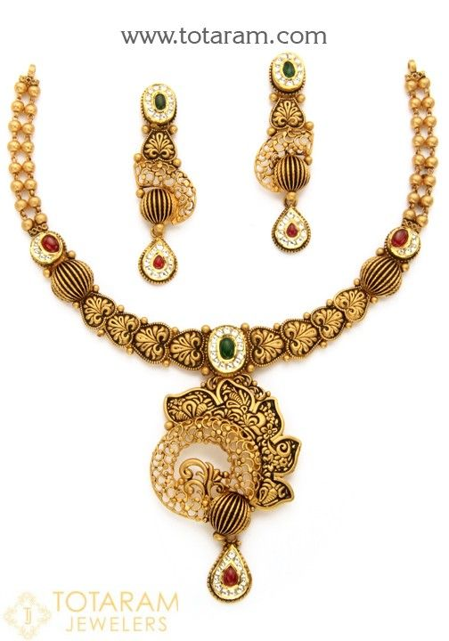 22 Karat Gold Antique Necklace & Drop Earrings Set with Fancy Stones & intricate workmanship