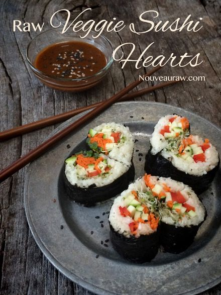 Raw Veggie Sushi Hearts and Almond Dipping Sauce